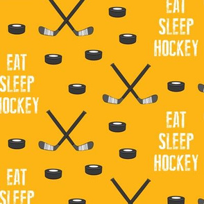 eat sleep hockey - custom yellow