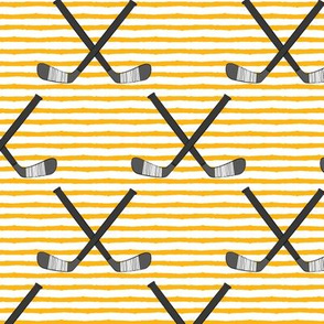 hockey sticks on stripes - custom yellow