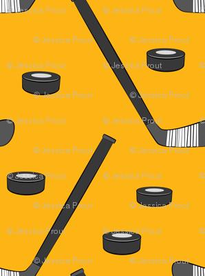hockey - sports fabric - custom yellow
