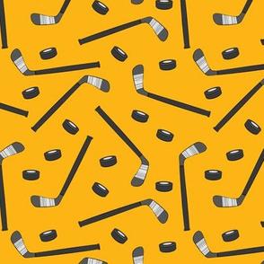 hockey sticks and pucks - custom yellow