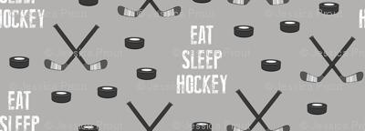 eat sleep hockey - monochrome on grey