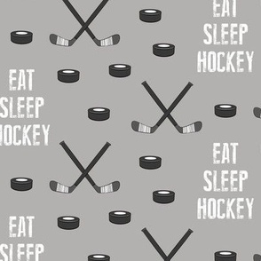 eat sleep hockey - monochrome on grey
