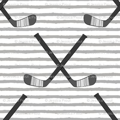 hockey sticks on stripes - monochrome
