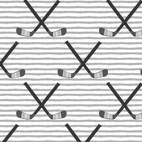 hockey sticks on stripes - monochrome fabric by littlearrowdesign on Spoonflower - custom fabric