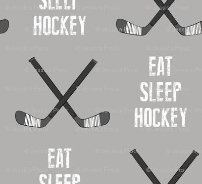 eat sleep hockey - cross sticks - grey