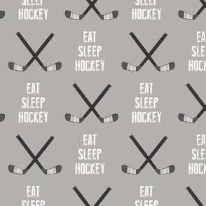 eat sleep hockey - cross sticks - grey