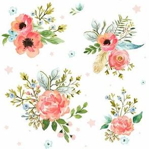 Pink Peach & Blue Florals / Pink Stars
