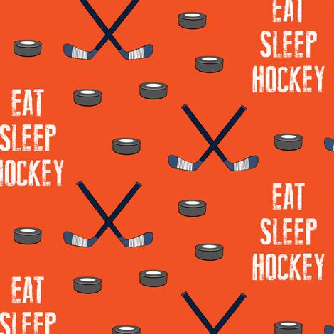 eat sleep hockey - dark orange fabric by littlearrowdesign on Spoonflower - custom fabric