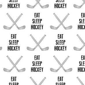 eat sleep hockey - cross sticks - monochrome