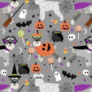 schnauzer dog fabric  halloween spooky dog costumes fabric - grey