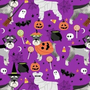 schnauzer dog fabric  halloween spooky dog costumes fabric - purple