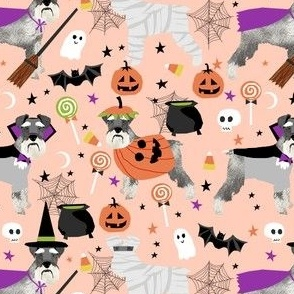 schnauzer dog fabric  halloween spooky dog costumes fabric - peach