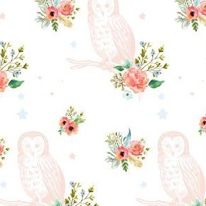 "4"" Owl Florals in Pink Peach & Blue / Mix & Match"
