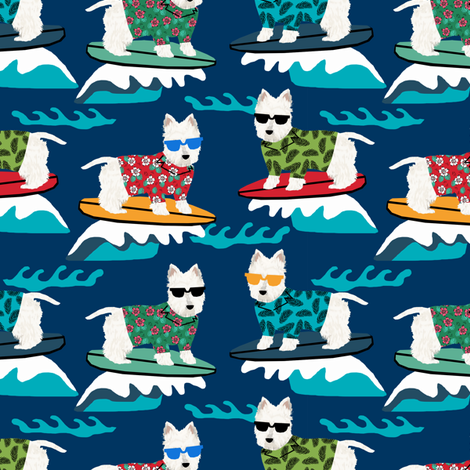 westie surf fabric dogs and surfboards design - dark blue fabric by petfriendly on Spoonflower - custom fabric