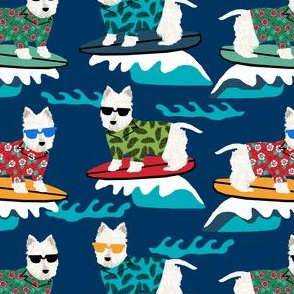 westie surf fabric dogs and surfboards design - dark blue
