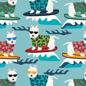 westie surf fabric dogs and surfboards design - light blue