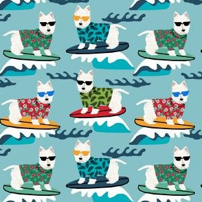 westie surf fabric dogs and surfboards design - light blue - smaller