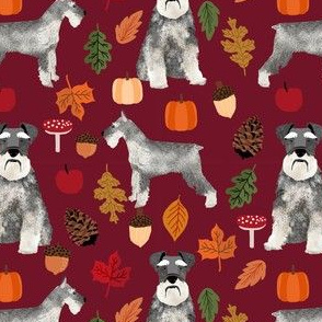schnauzer dog fabric  dogs and autumn dog fabric - ruby red