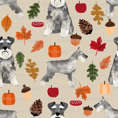 schnauzer dog fabric  dogs and autumn dog fabric - tan