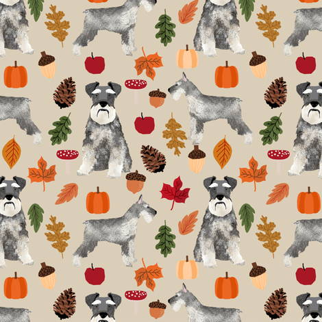 schnauzer dog fabric  dogs and autumn dog fabric - tan fabric by petfriendly on Spoonflower - custom fabric