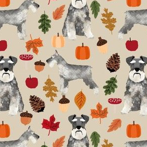 schnauzer dog fabric  dogs and autumn dog fabric - tan