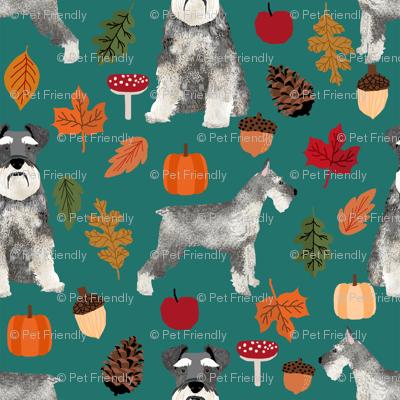 schnauzer dog fabric  dogs and autumn dog fabric - eden green