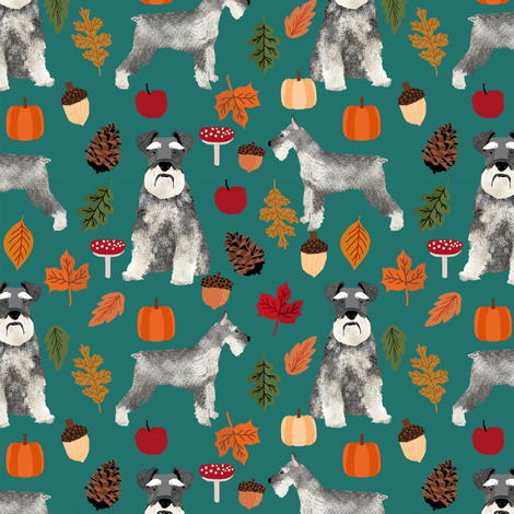 schnauzer dog fabric  dogs and autumn dog fabric - eden green fabric by petfriendly on Spoonflower - custom fabric