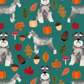 schnauzer dog fabric  dogs and autumn dog fabric - eden green
