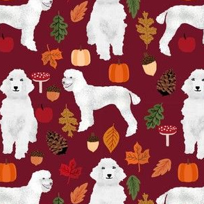 poodle dog fabric white poodle autumn fabric - ruby red