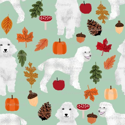 poodle dog fabric white poodle autumn fabric -mint