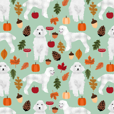 poodle dog fabric white poodle autumn fabric -mint fabric by petfriendly on Spoonflower - custom fabric
