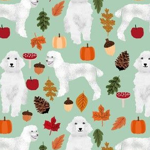 poodle dog fabric white poodle autumn fabric -mint