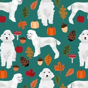 poodle dog fabric white poodle autumn fabric - eden green