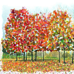 Autumn Bradford Pears Pointillism