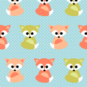 baby foxes - orange and green