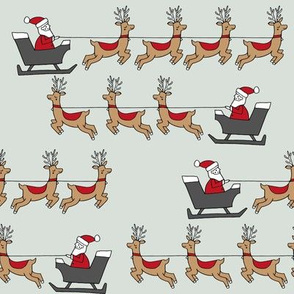 santa's sleigh fabric // reindeer and santa north pole christmas design - mint