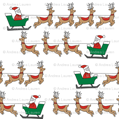 santa's sleigh fabric // reindeer and santa north pole christmas design -red and green