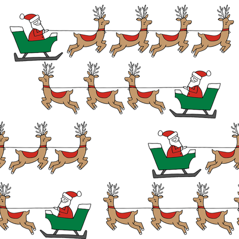 santa's sleigh fabric // reindeer and santa north pole christmas design -red and green fabric by andrea_lauren on Spoonflower - custom fabric