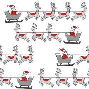 santa's sleigh fabric // reindeer and santa north pole christmas design - grey and white