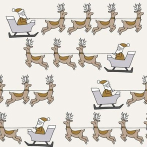 santa's sleigh fabric // reindeer and santa north pole christmas design - neutral