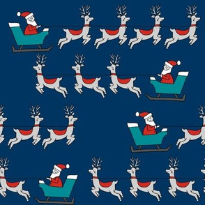 santa's sleigh fabric // reindeer and santa north pole christmas design - navy