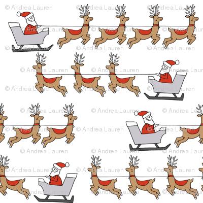 santa's sleigh fabric // reindeer and santa north pole christmas design - white