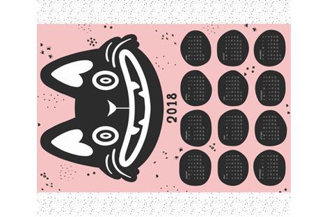 2018 Cat Calander Tea Towel  fabric by how-store on Spoonflower - custom fabric