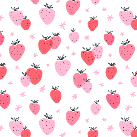 Strawberry doodle fabric by stolenpencil on Spoonflower - custom fabric