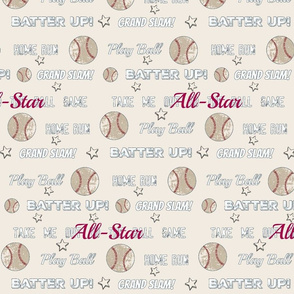 AllStar vintage cream worn  baseball  stars and text  XL1205