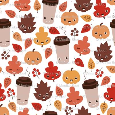 Kawaii autumn leaves and pumpkin spice latte love illustration pattern
