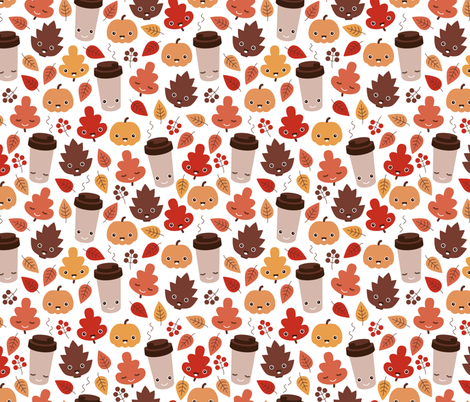 Kawaii autumn leaves and pumpkin spice latte love illustration pattern fabric by littlesmilemakers on Spoonflower - custom fabric