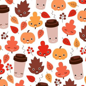 Kawaii autumn leaves and pumpkin spice latte love illustration pattern