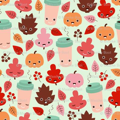 Kawaii autumn leaves and pumpkin spice latte love illustration pattern girls pink