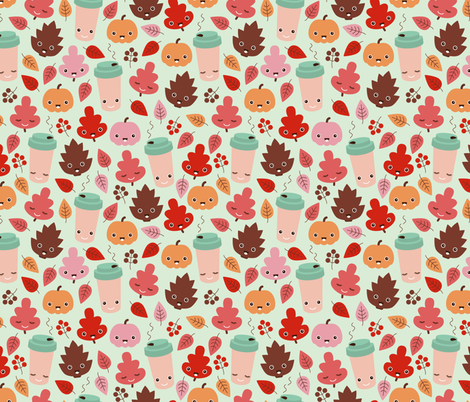 Kawaii autumn leaves and pumpkin spice latte love illustration pattern girls pink fabric by littlesmilemakers on Spoonflower - custom fabric